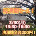 3月30日(月)13時半〜16時半「桜満開セール! 」